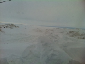 The view from my hotel room (there's a tiny snowmobile in the distance if you look carefully)